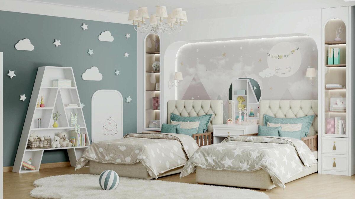 Мебель детской спальни 2 девочек проект 4263-7