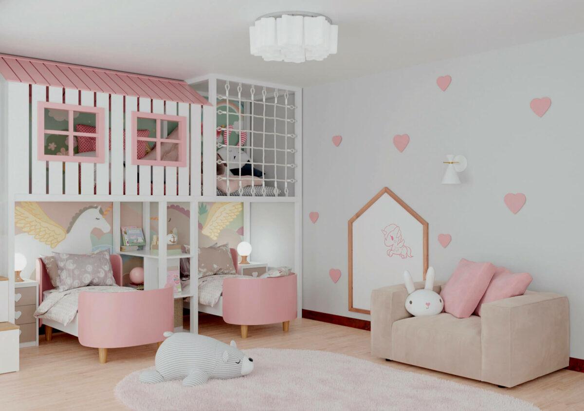 Мебель детской спальни 2 девочек проект 4359-1