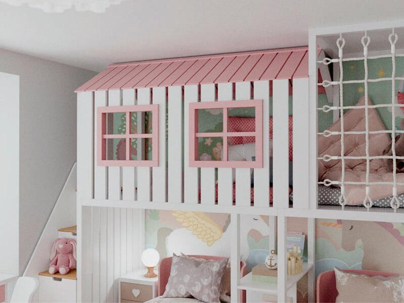 Мебель детской спальни 2 девочек проект 4359-11