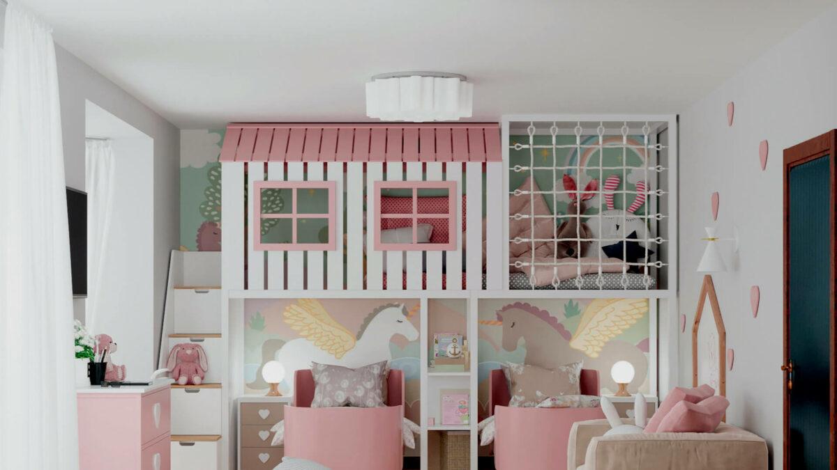 Мебель детской спальни 2 девочек проект 4359-4