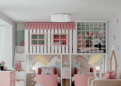 Бело-розовая мебель детской спальни двух девочек — проект 4359