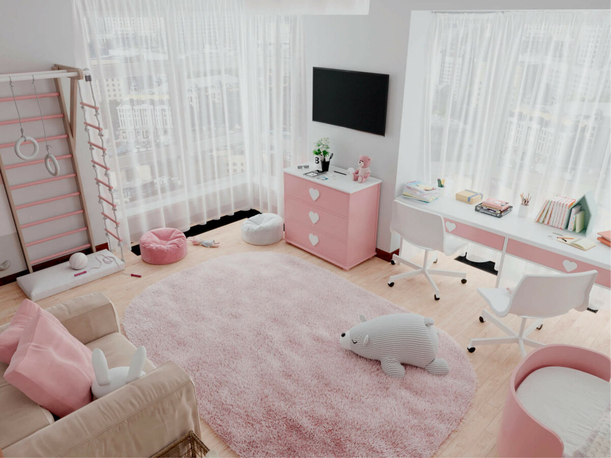 Мебель детской спальни 2 девочек проект 4359-5
