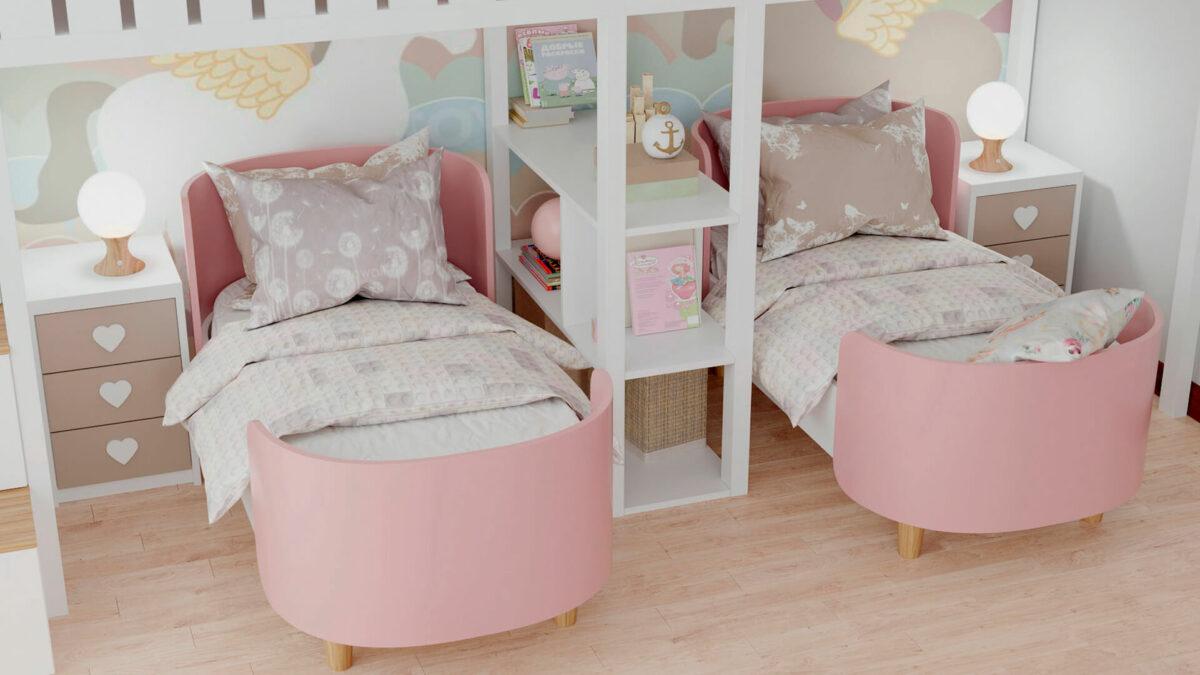 Мебель детской спальни 2 девочек проект 4359-6