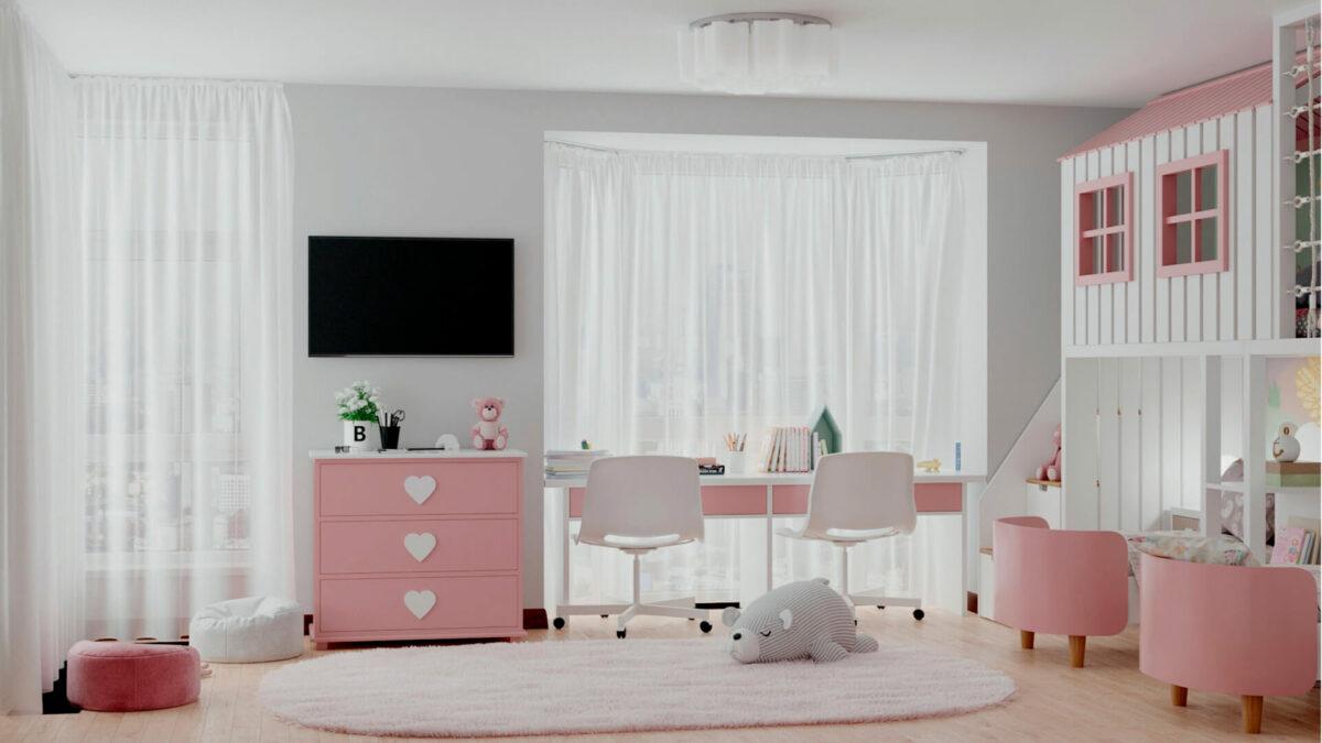Мебель детской спальни 2 девочек проект 4359-8