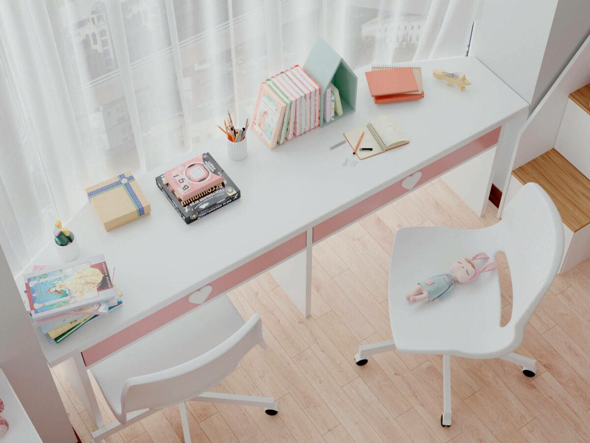 Мебель детской спальни 2 девочек проект 4359-9