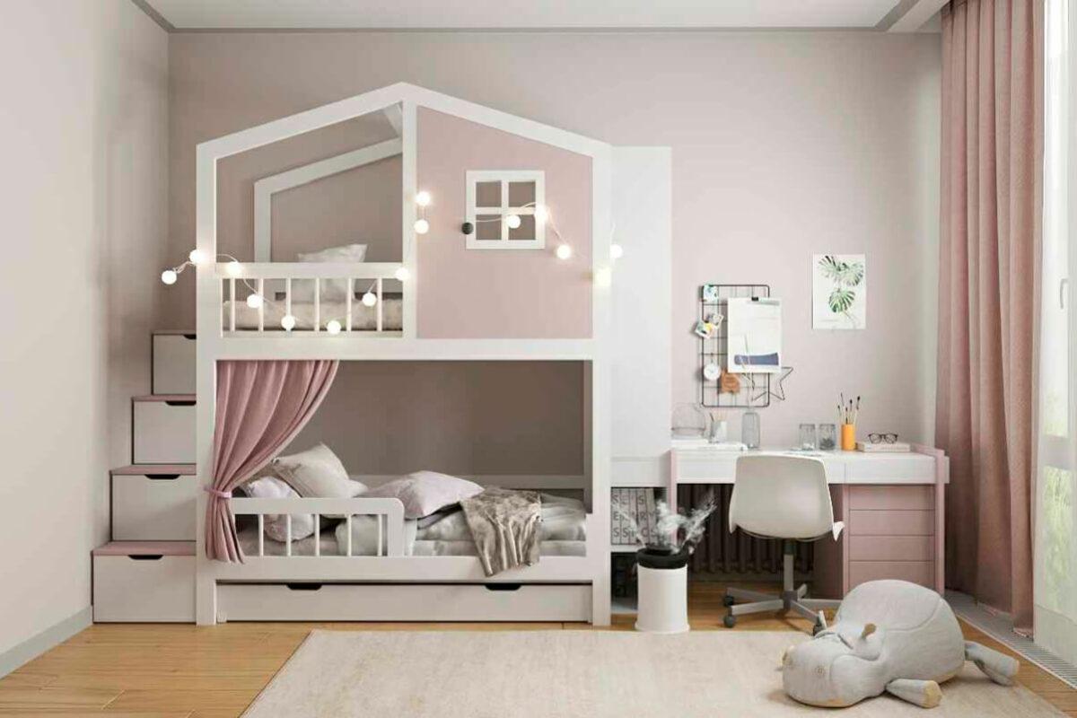 Мебель детской спальни 2 девочек проект 4881-1