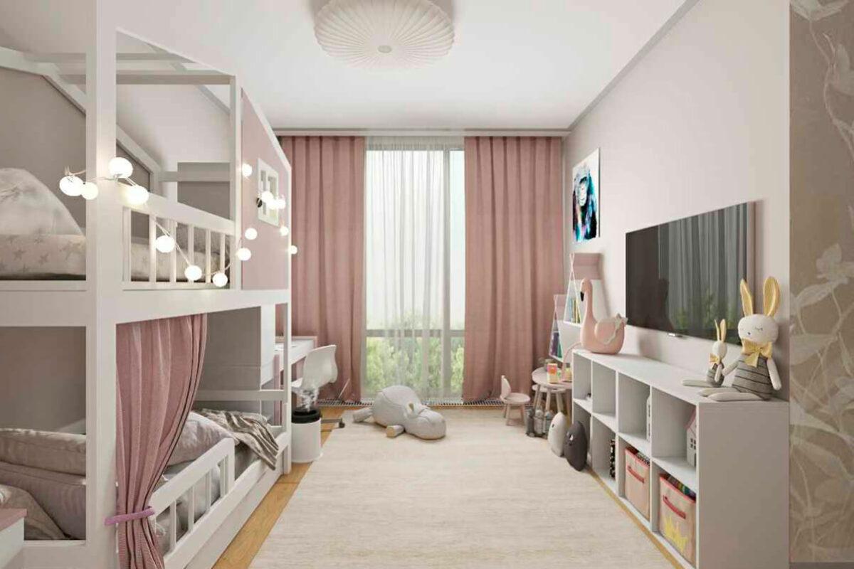 Мебель детской спальни 2 девочек проект 4881-2