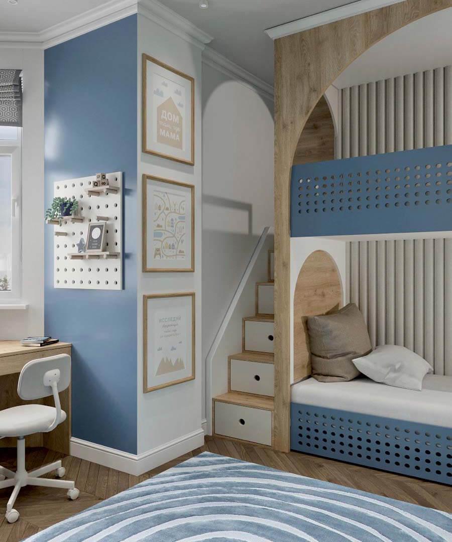 Мебель детской спальни 2 мальчиков-школьников проект 4195-1