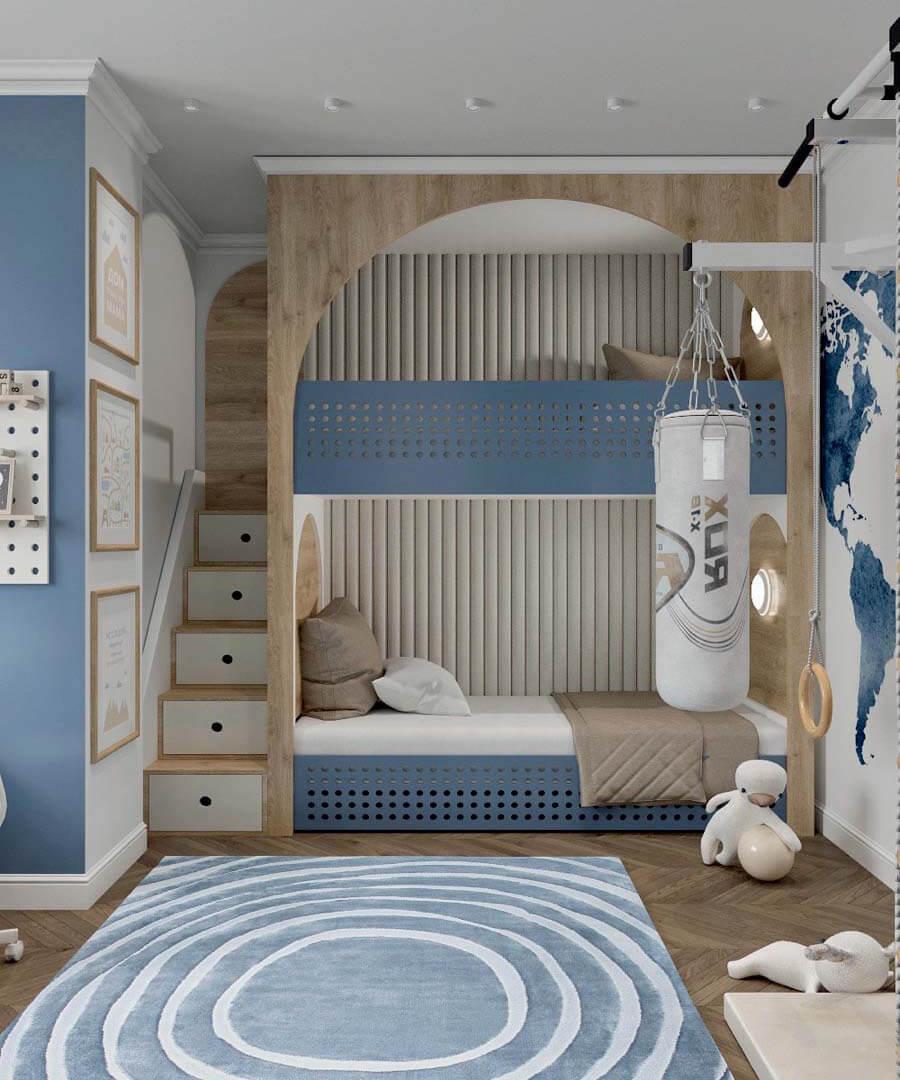 Мебель детской спальни 2 мальчиков-школьников проект 4195-8