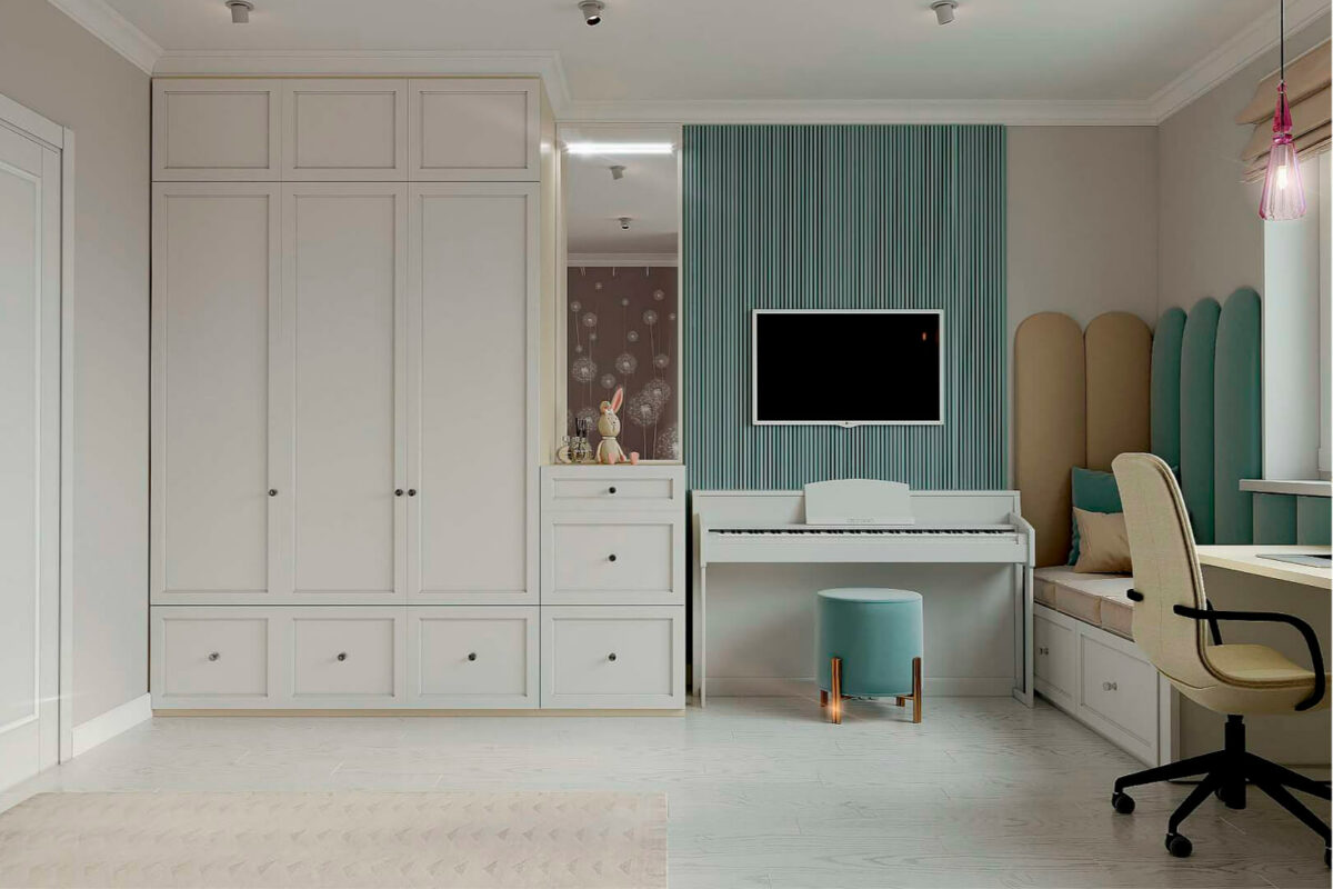 Мебель детской спальни девочки проект 39871-3