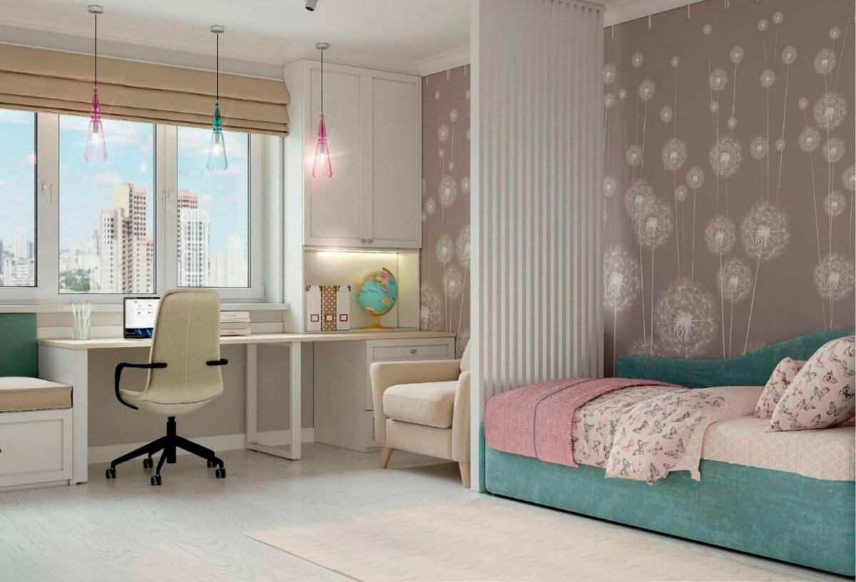 Мебель детской спальни девочки проект 39871-1