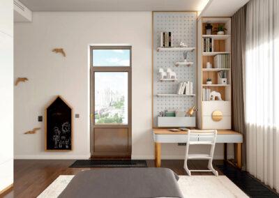 Мебель в белых и желтых тонах для детской спальни девочки 7-12 лет — проект 4243-2
