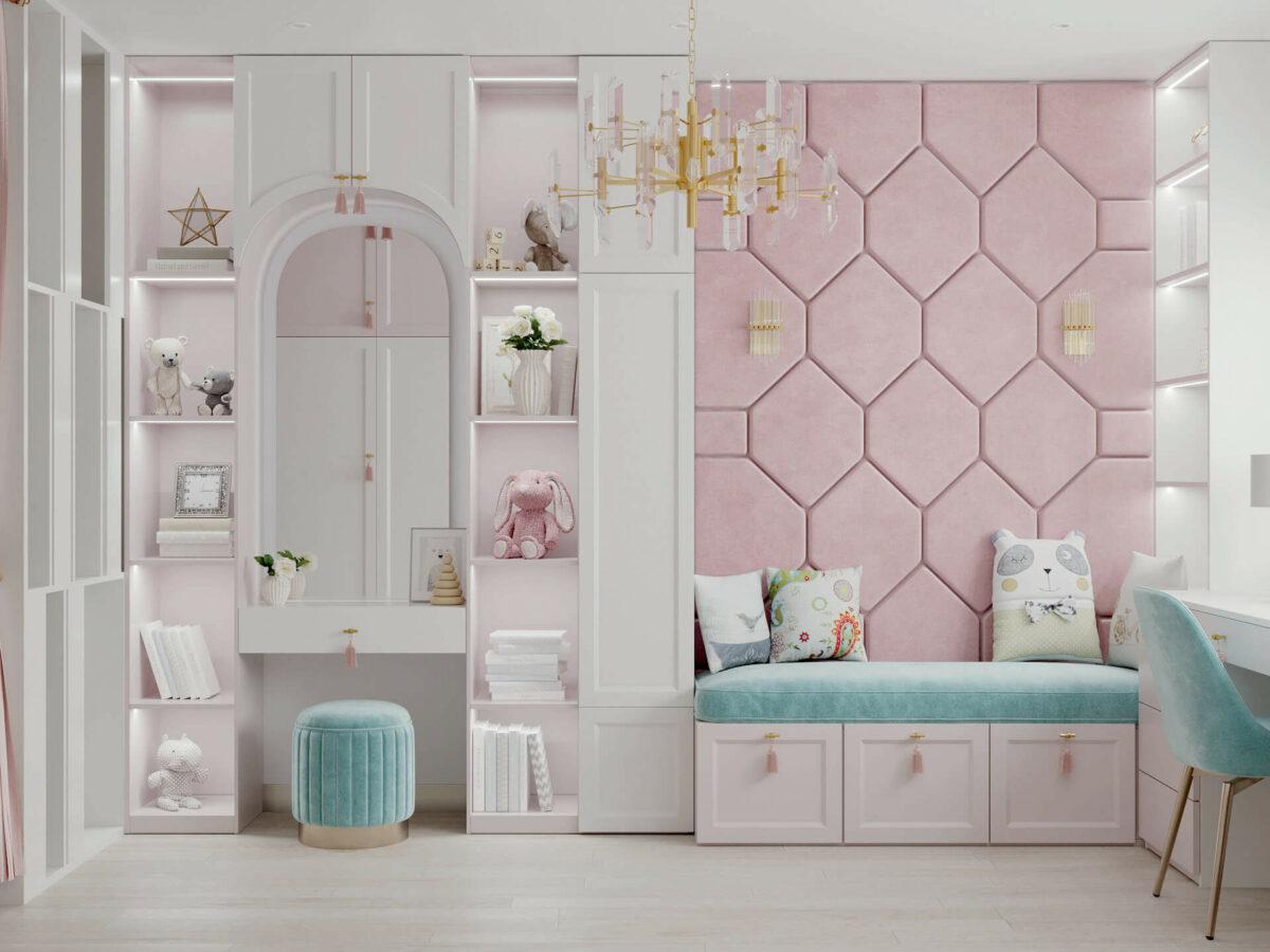 Мебель детской спальни девочки проект 5195-1