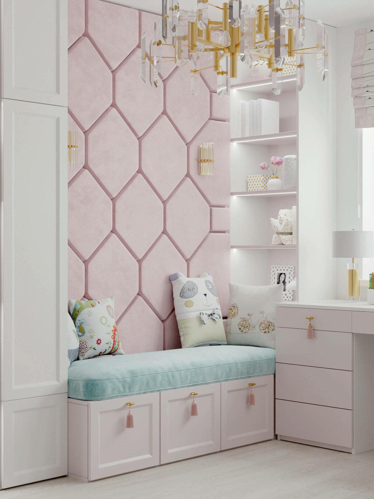 Мебель детской спальни девочки проект 5195-4