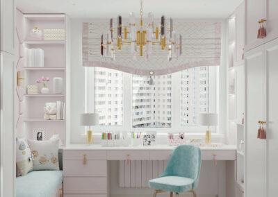 Мебель в светло-розовых оттенках в детскую спальню девочки — проект 5195