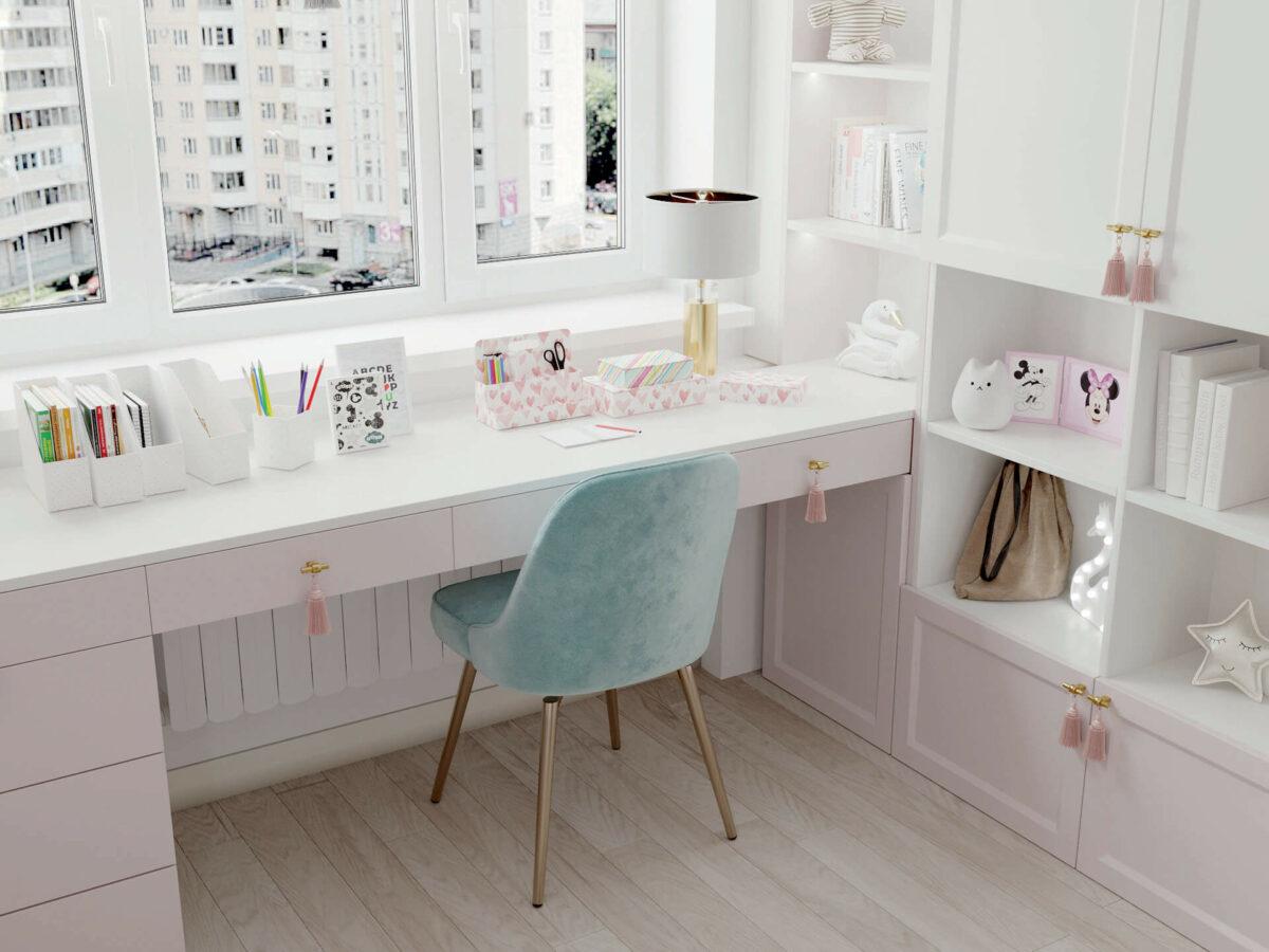 Мебель детской спальни девочки проект 5195-6