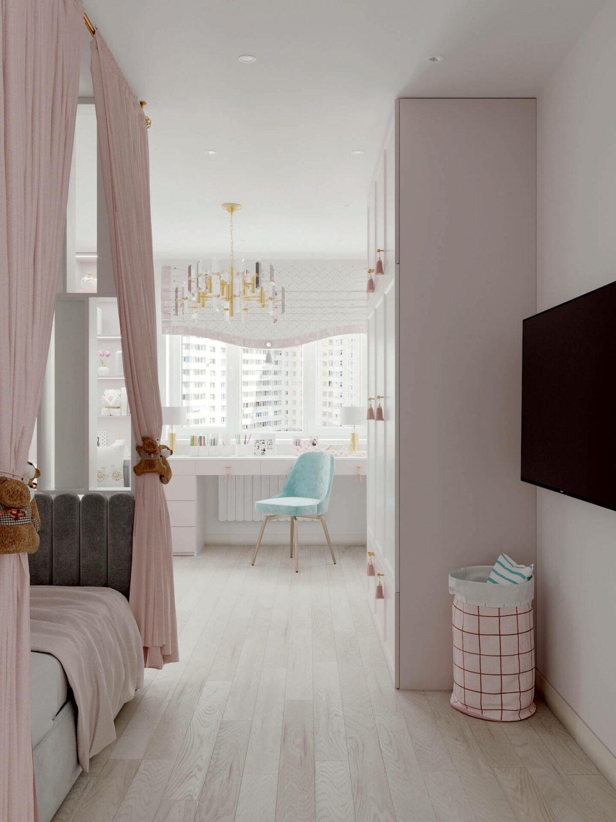 Мебель детской спальни девочки проект 5195-7