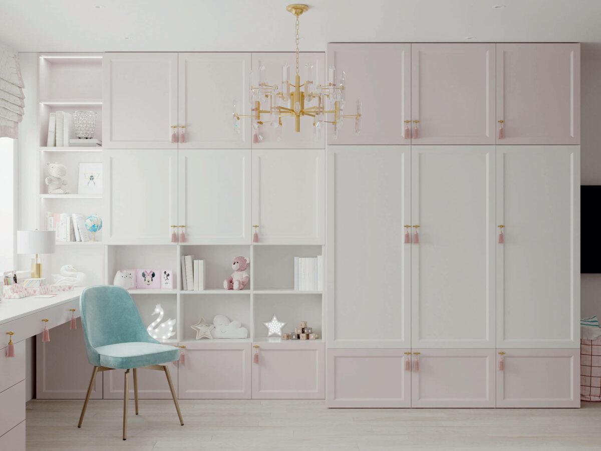 Мебель детской спальни девочки проект 5195-9
