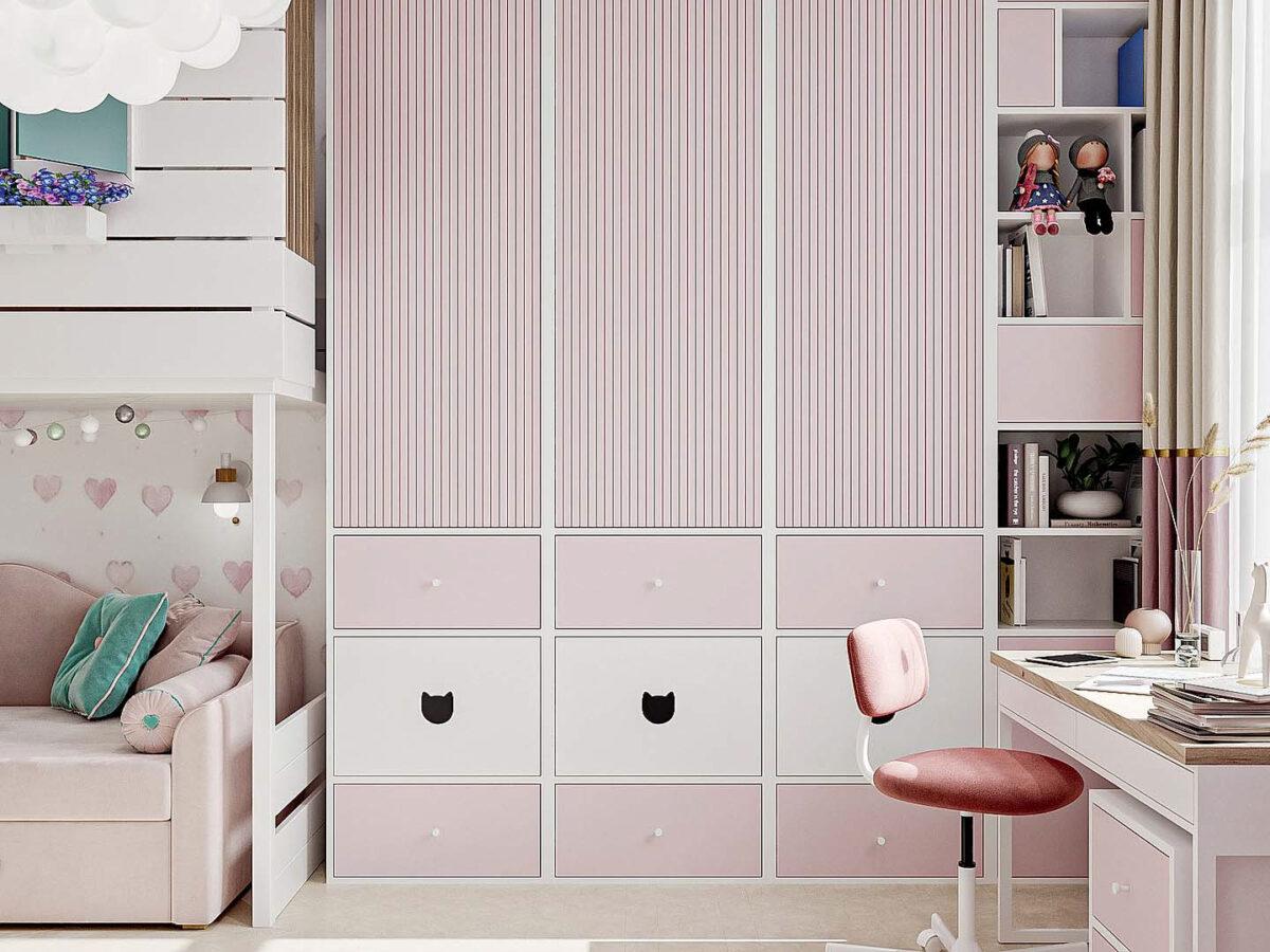 Мебель детской спальни девочки проект 5437-2-2