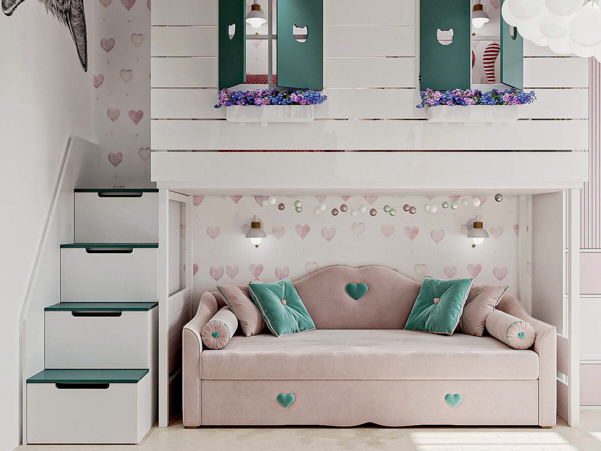 Мебель детской спальни девочки проект 5437-2-3