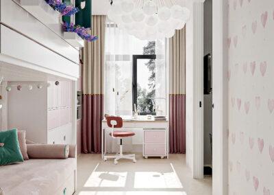 Оригинальная мебель детской спальни для девочки 5-8 лет — проект 5437-2