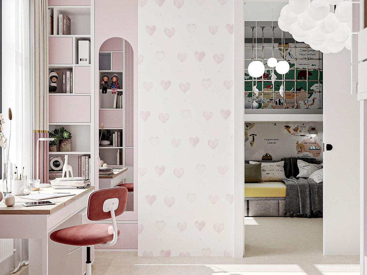 Мебель детской спальни девочки проект 5437-2-5