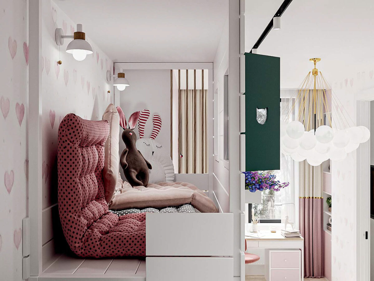 Мебель детской спальни девочки проект 5437-2-7