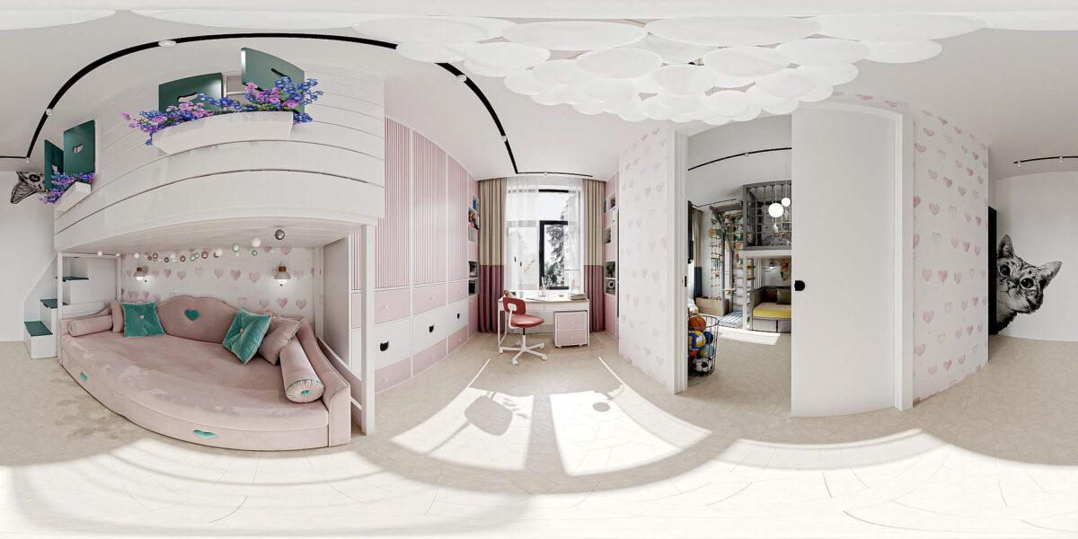 Мебель детской спальни девочки проект 5437-2-8