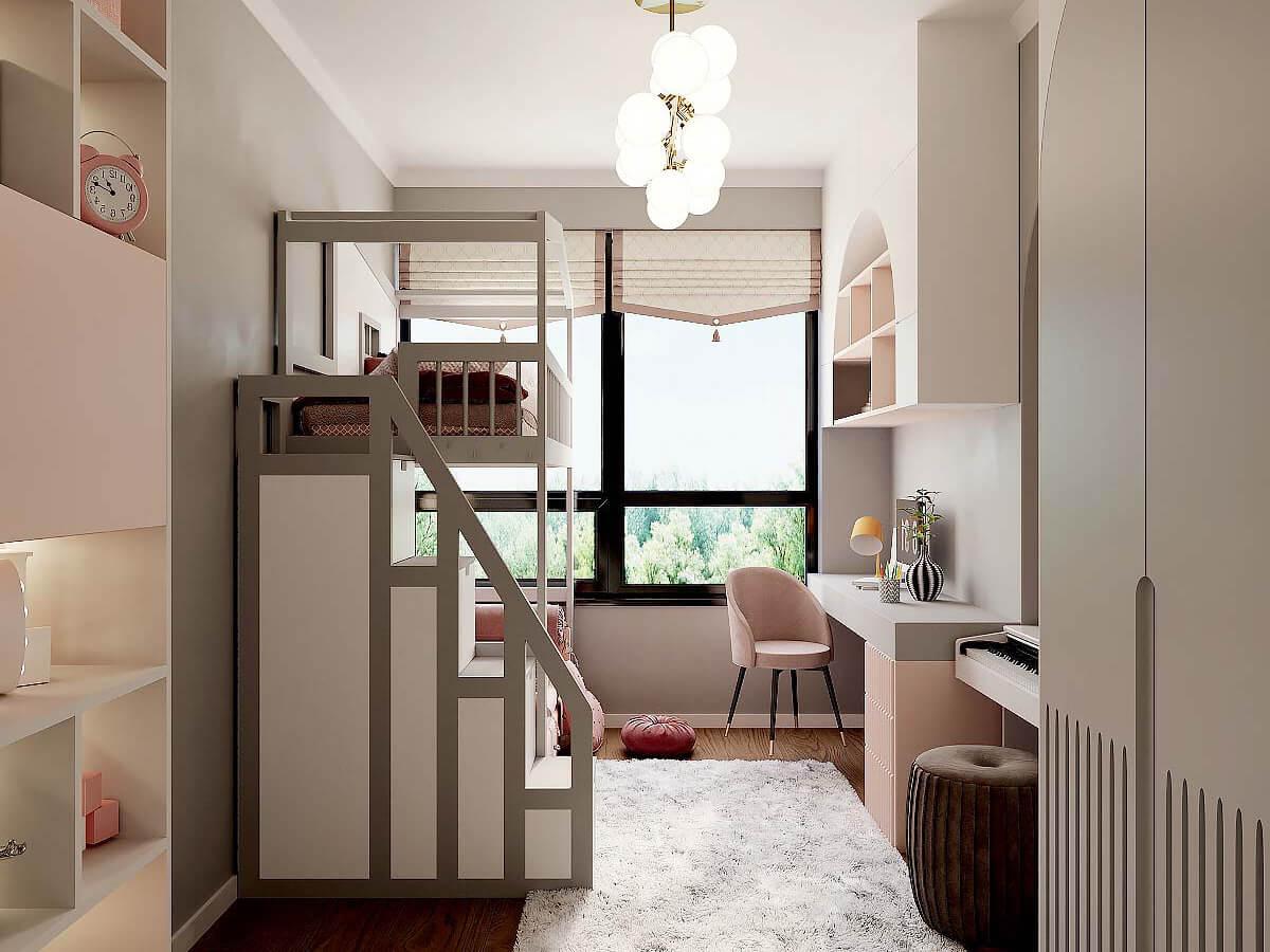 Мебель детской спальни девочки 6-9 лет проект 4007-1