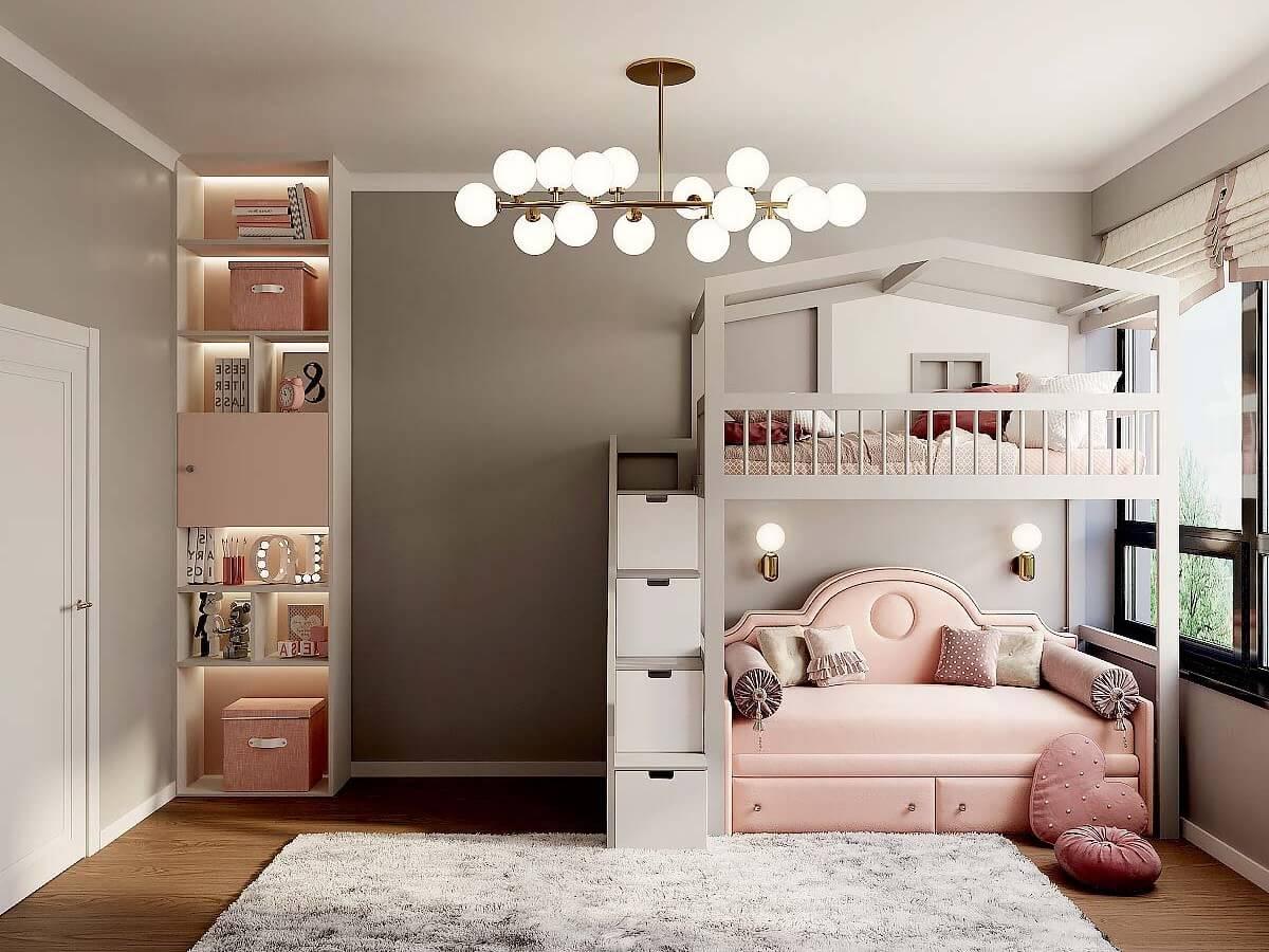 Мебель детской спальни девочки 6-9 лет проект 4007-2