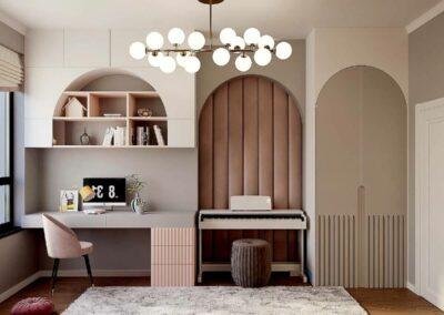 Мебель в светлых тонах для детской спальни девочки 6-9 лет — проект 4007