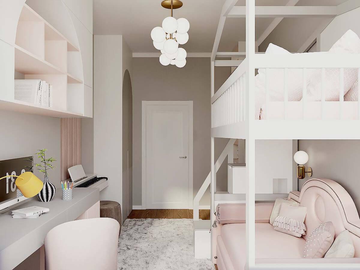 Мебель детской спальни девочки 6-9 лет проект 4007-4