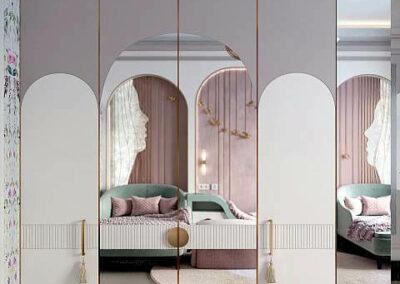 Комфортная мебель детской спальни для девочки 8-12 лет — проект 4041
