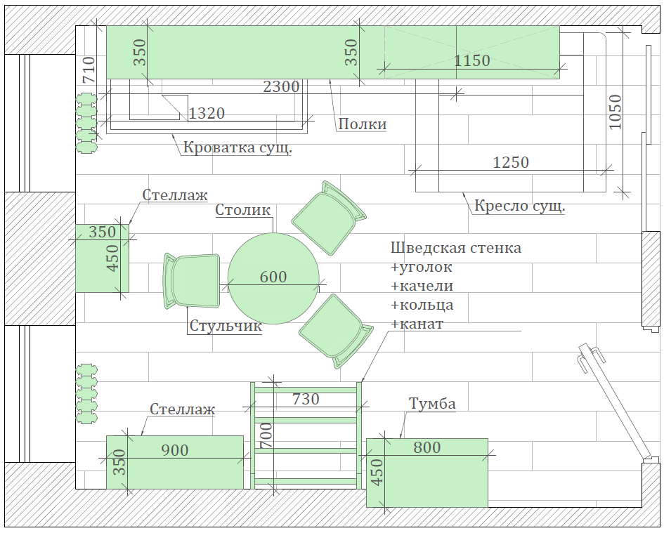 Мебель детской спальни для девочки 2-5 лет проект 3771-10