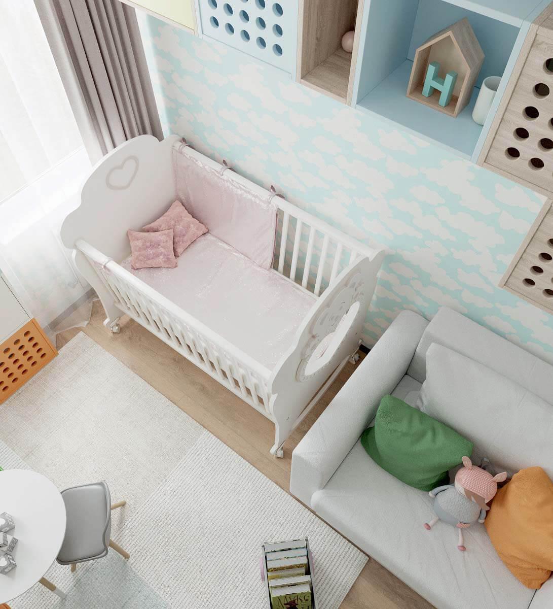 Мебель детской спальни для девочки 2-5 лет проект 3771-3