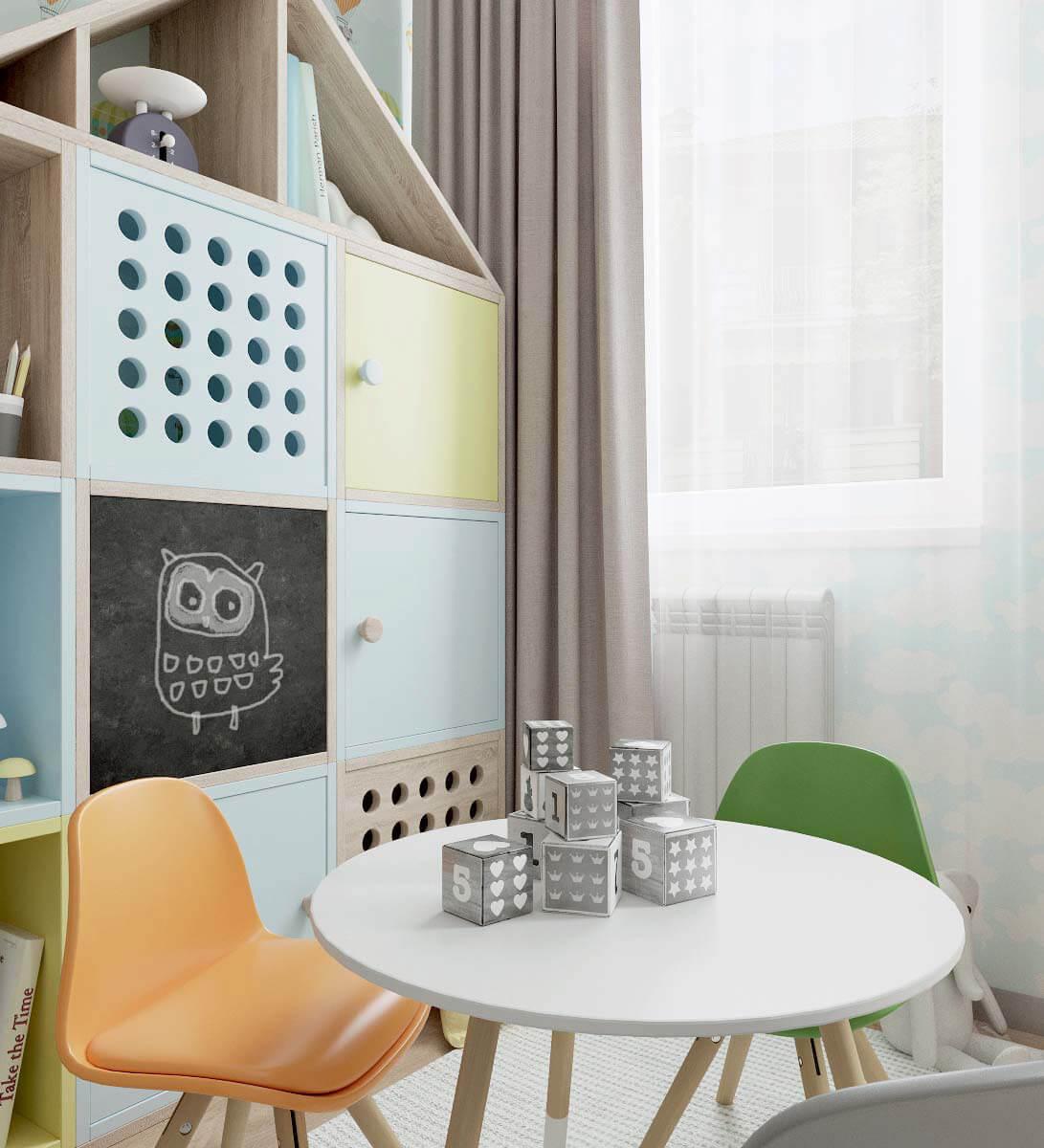 Мебель детской спальни для девочки 2-5 лет проект 3771-4