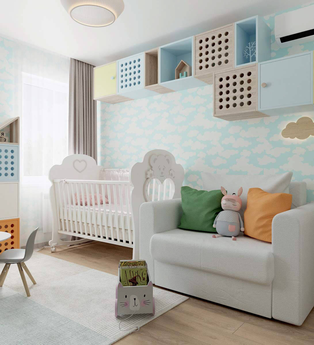 Мебель детской спальни для девочки 2-5 лет проект 3771-6