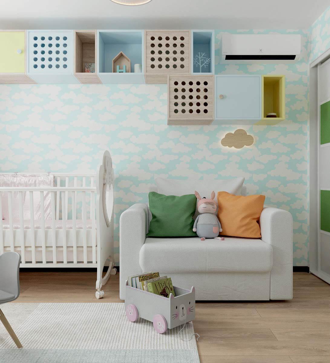 Мебель детской спальни для девочки 2-5 лет проект 3771-7