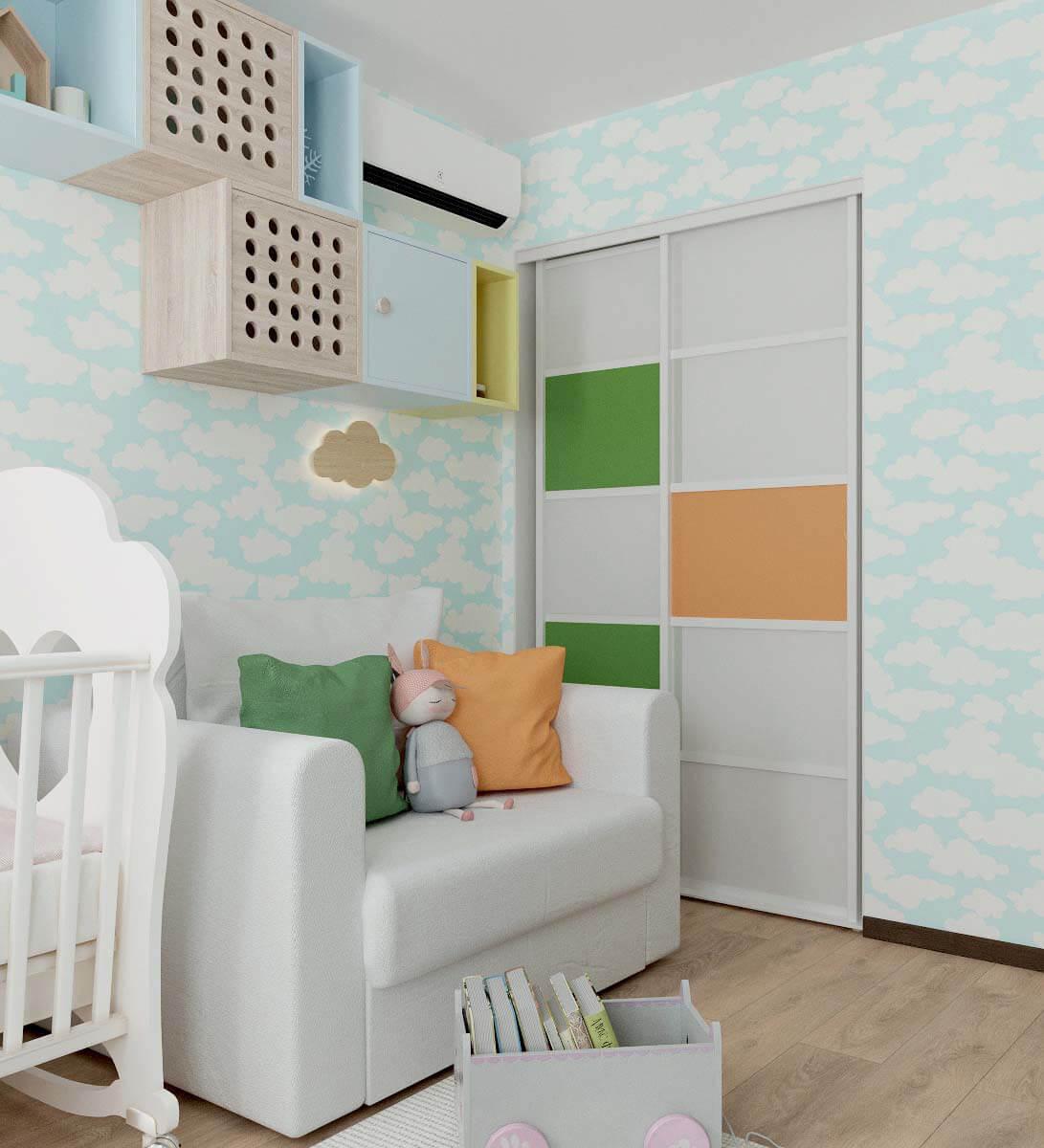 Мебель детской спальни для девочки 2-5 лет проект 3771-9
