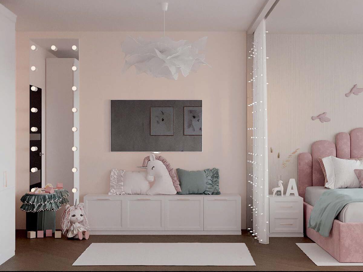 Мебель детской спальни для девочки проект 3823-1
