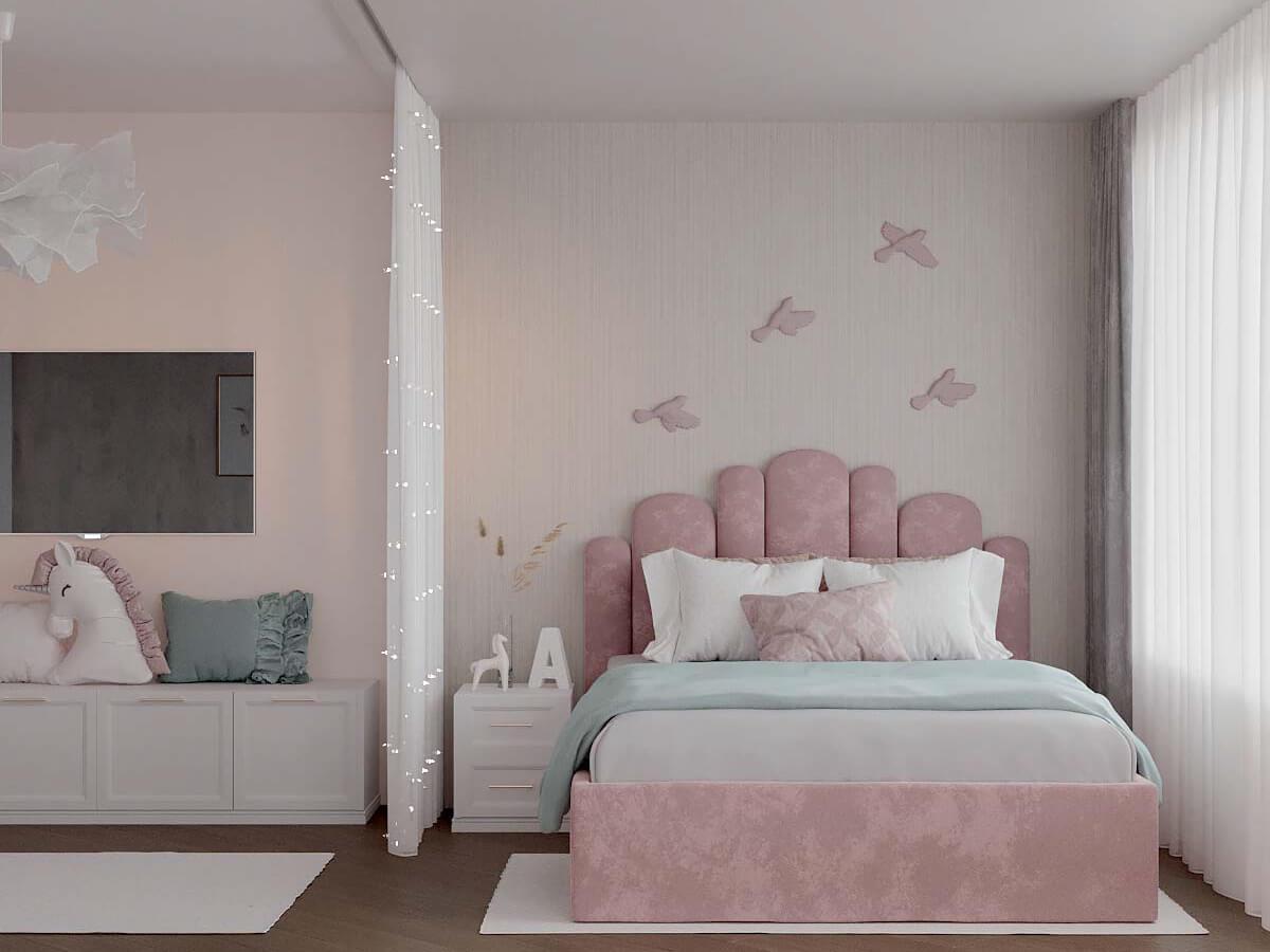 Мебель детской спальни для девочки проект 3823-2