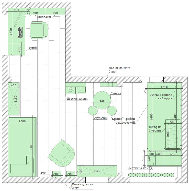 Мебель детской спальни для девочки 7-10 лет проект 3769-8