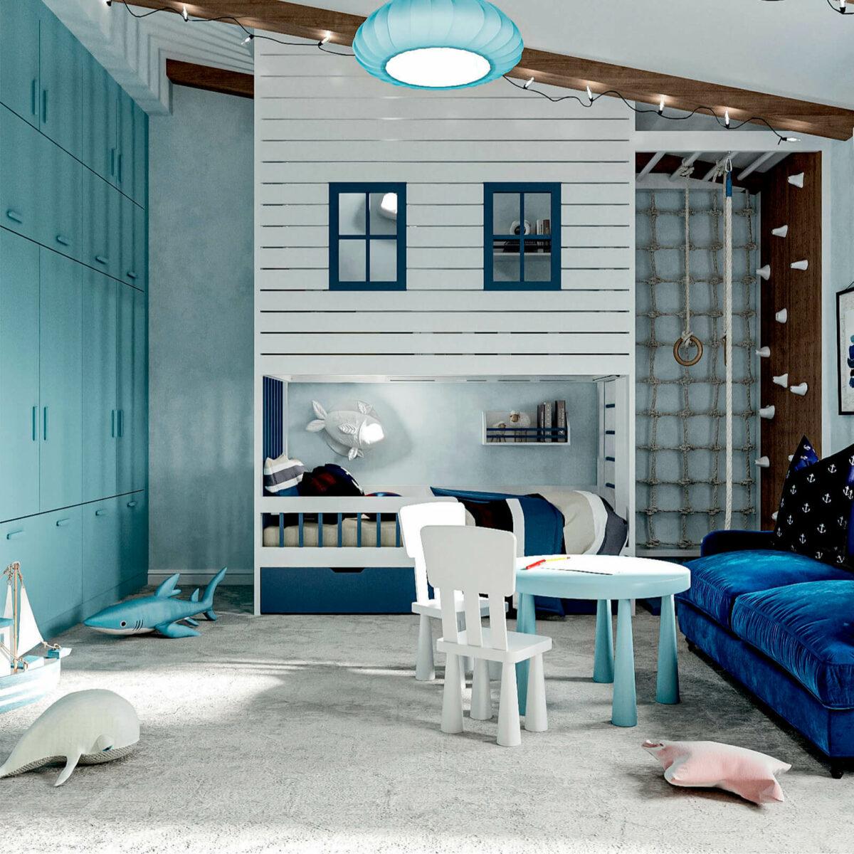 Мебель детской спальни мальчика 3-9 лет проект 4867-3