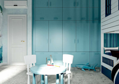 Мебель в голубых тонах в комнату мальчика 3-9 лет — проект 4867