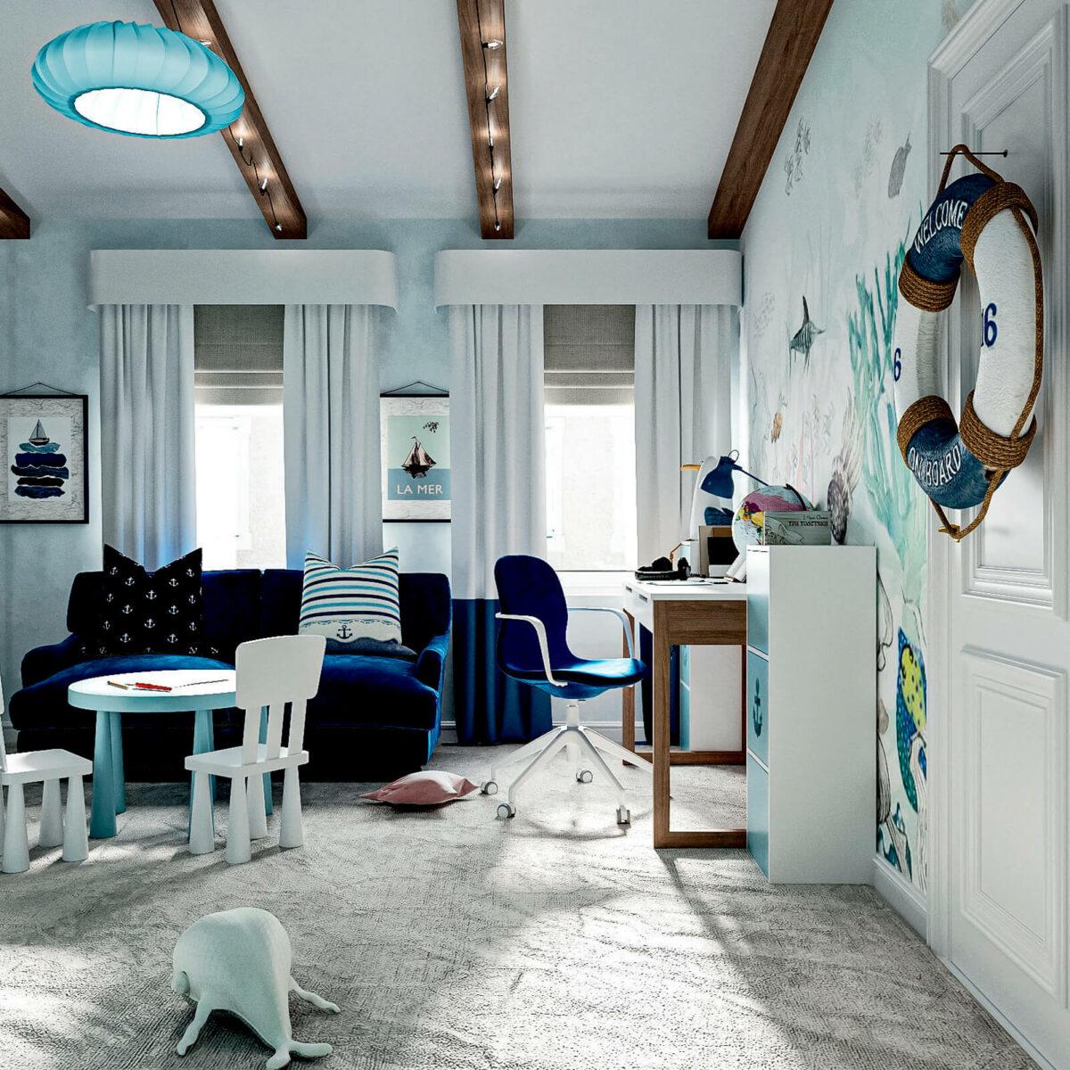 Мебель детской спальни мальчика 3-9 лет проект 4867-6