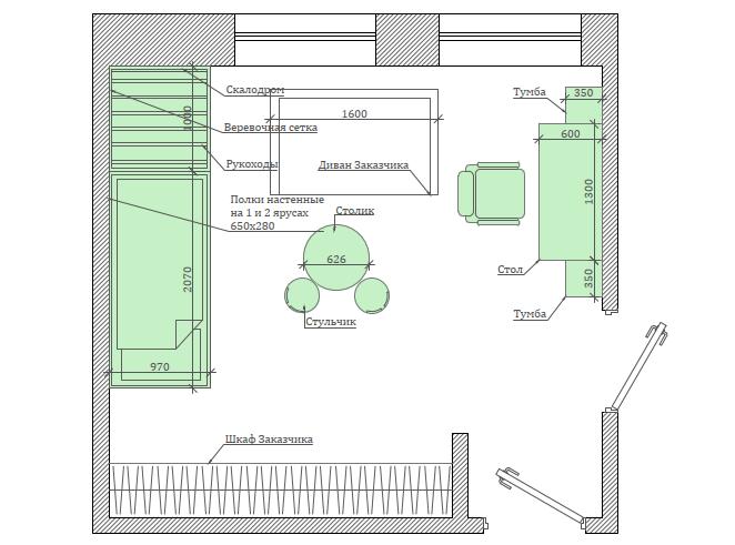 Мебель детской спальни мальчика 3-9 лет проект 4867-8