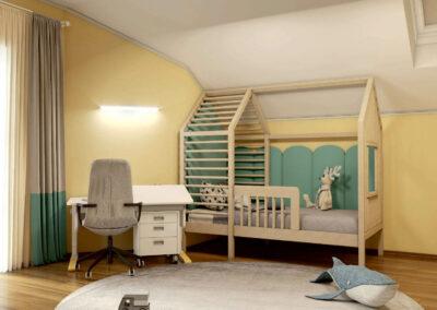 Мебель в светло-коричневых тонах для детской спальни мальчика — проект 4595
