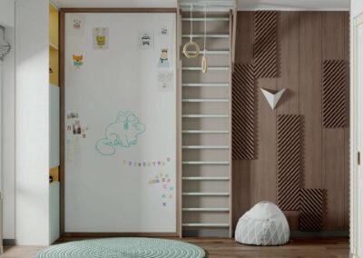 Мебель в желтых и коричневых цветах в детскую спальню мальчика — проект 4619