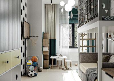 Стильная мебель детской спальни для мальчика — проект 5437-1
