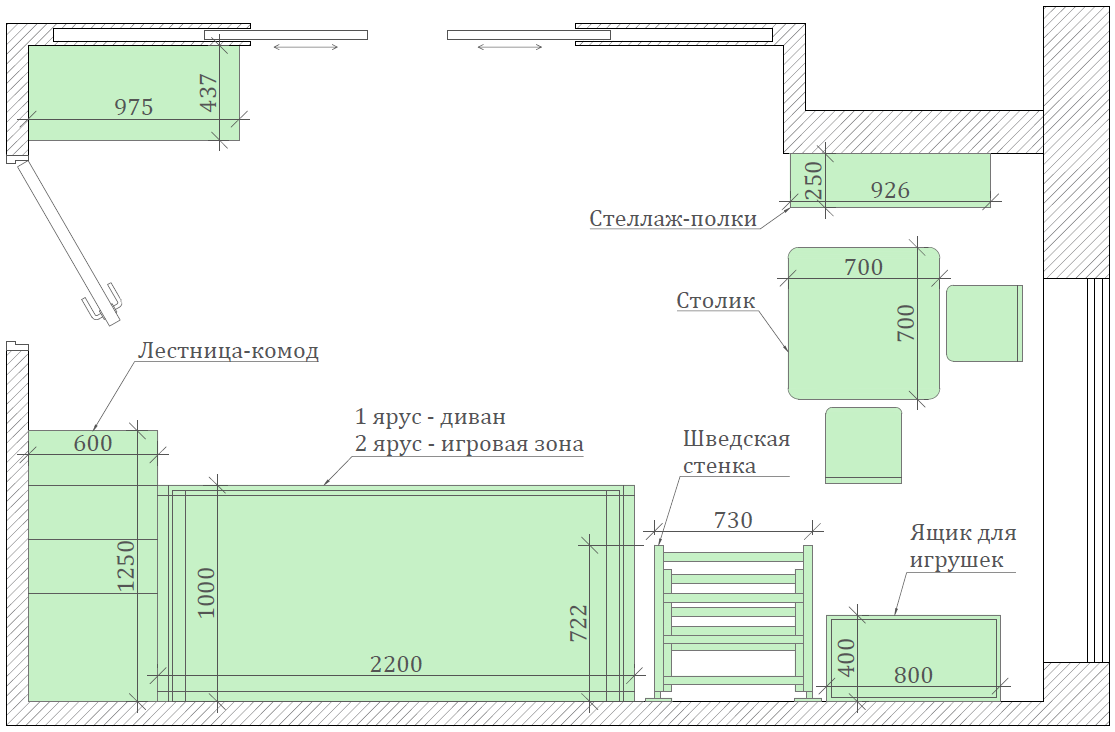 Мебель детской спальни мальчика проект 5437-1-9